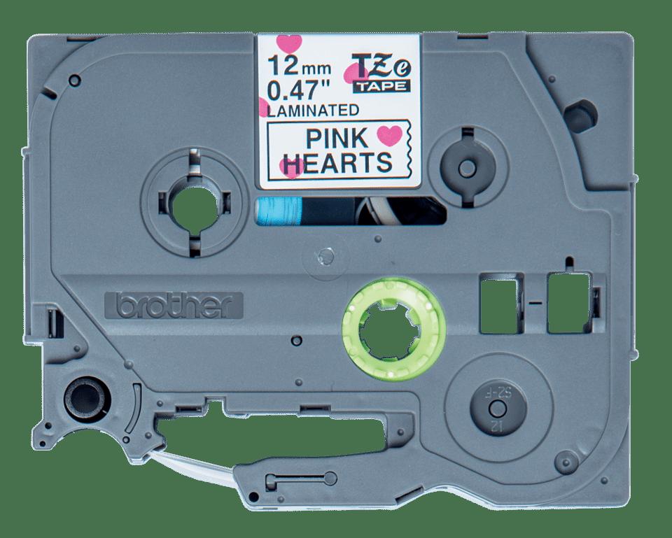 Brother original TZe-MPPH31  laminerad tape - svart text på mönster av röda hjärtan, 12 mm bred