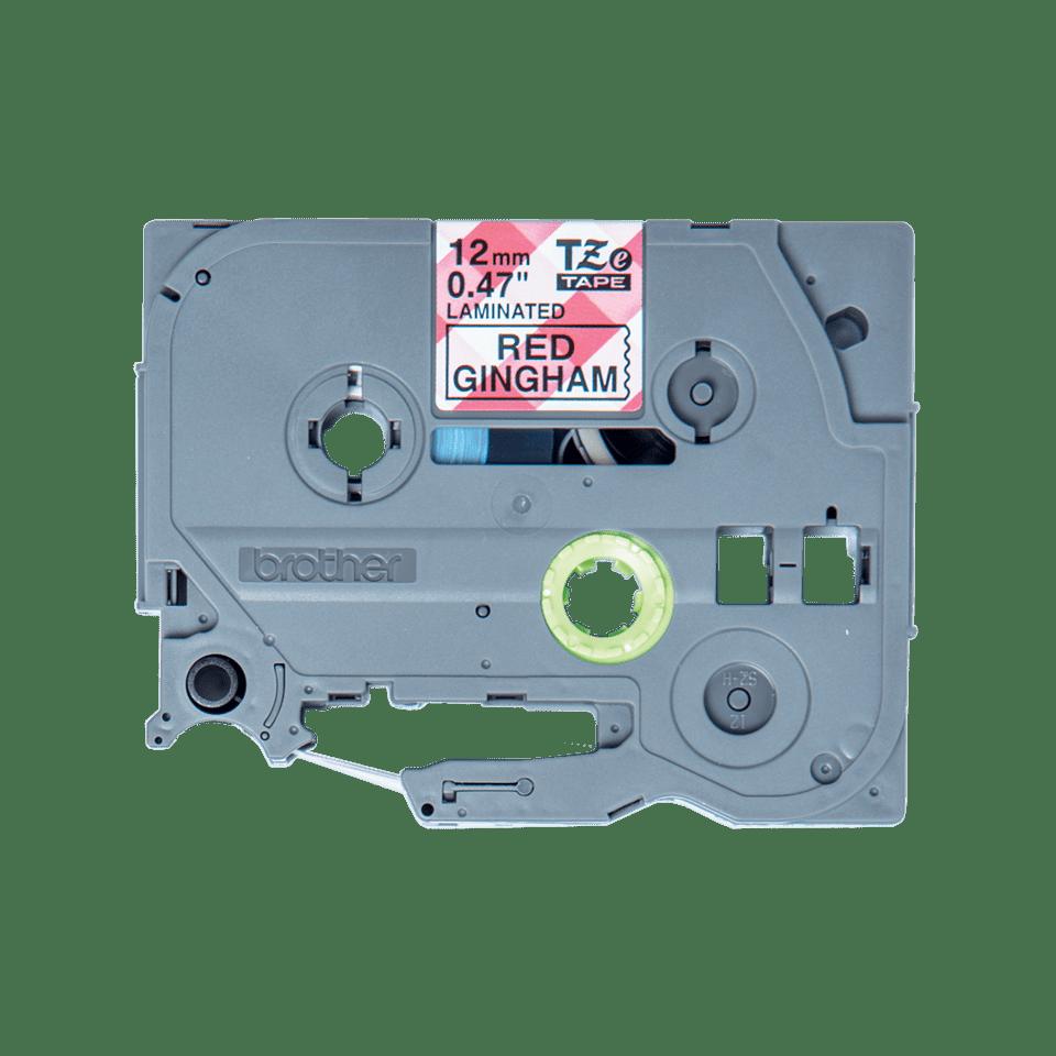 Brother TZe-MPRG31 laminerad tape - med svart text på rött rutmönster, 12 mm bred