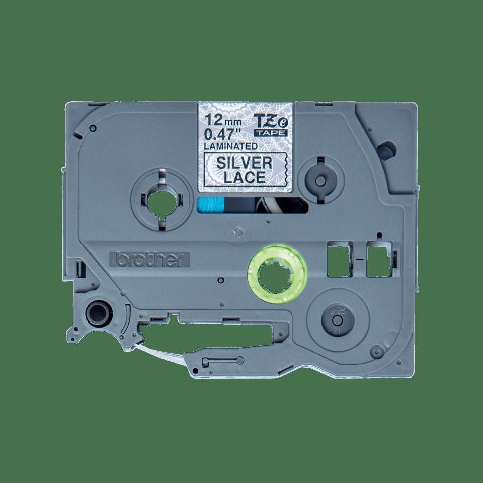 Brother TZeMPSL31 original etikettape, svart på silver i spetsmönster, 12 mm