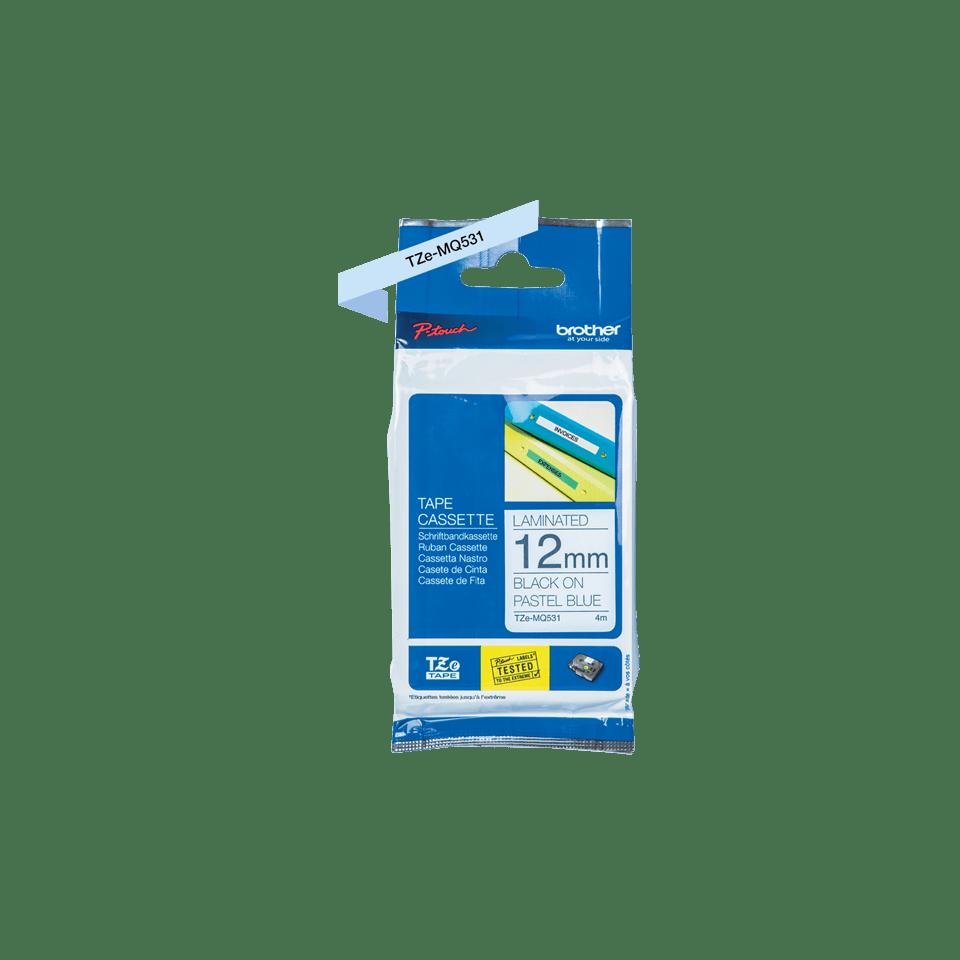 Brother original TZe-MQ531 laminerad tape - svart på blå, 12 mm bred 2