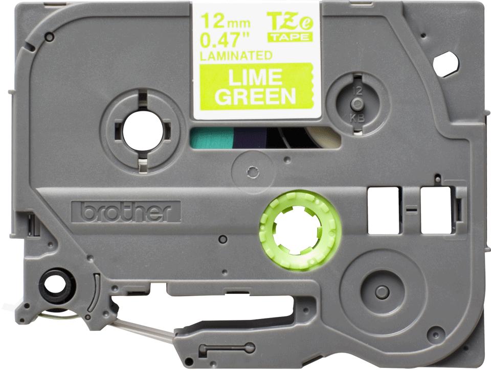 Brother TZeMQG35 original etikettape, vit på limegrön, 12 mm