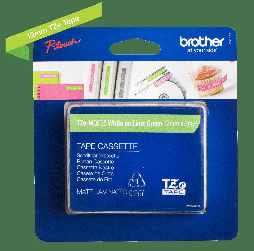Brother TZeMQG35 original etikettape, vit på limegrön, 12 mm  2
