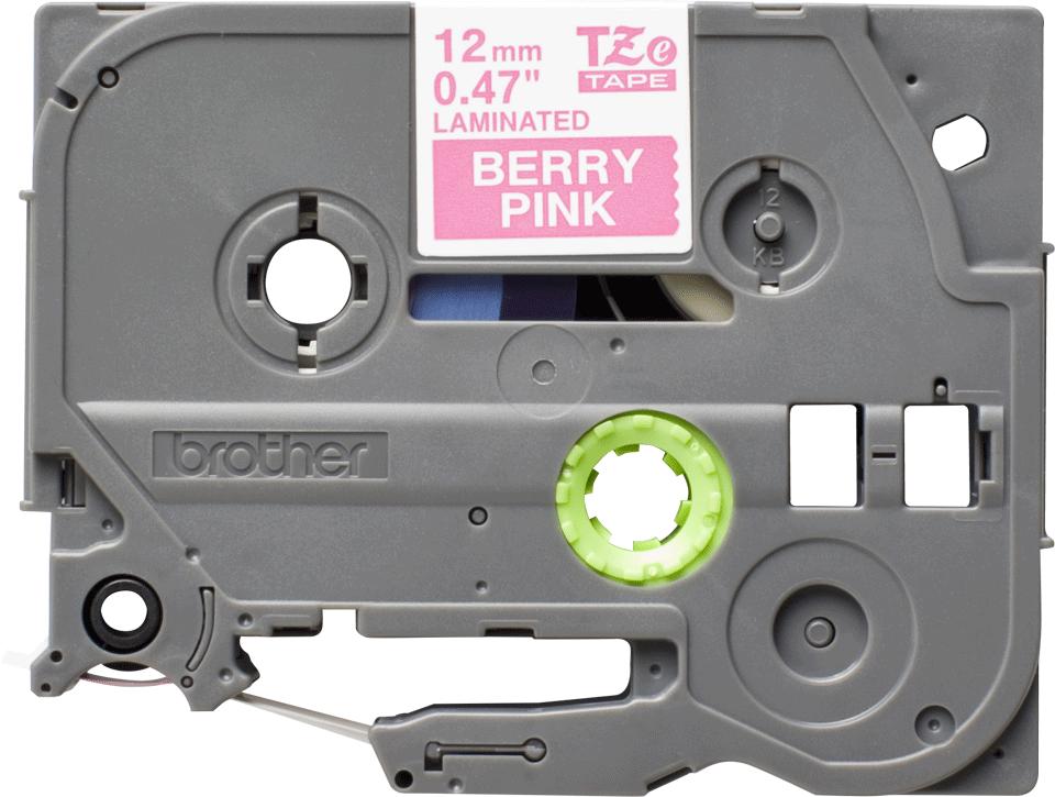 Brother TZe-MQP35 original etikett tapekassett- vit på rosa laminerad tape, 12 mm bred 0