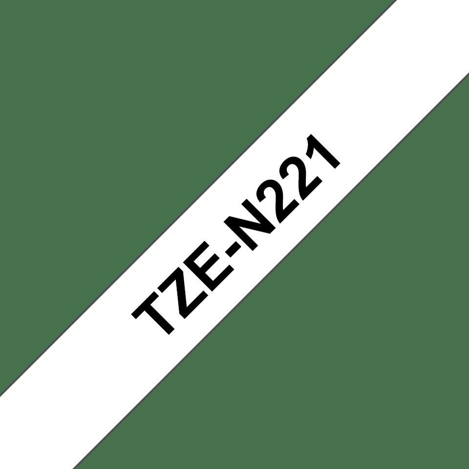 Brother TZeN221 original etikettape, svart på vit, 9 mm  3