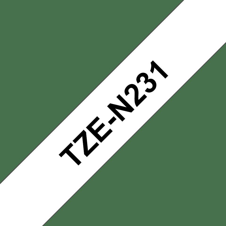 Brother TZe-N231 original etikett tapekassett- svart på vit olaminerad tape, 12 mm bred 3