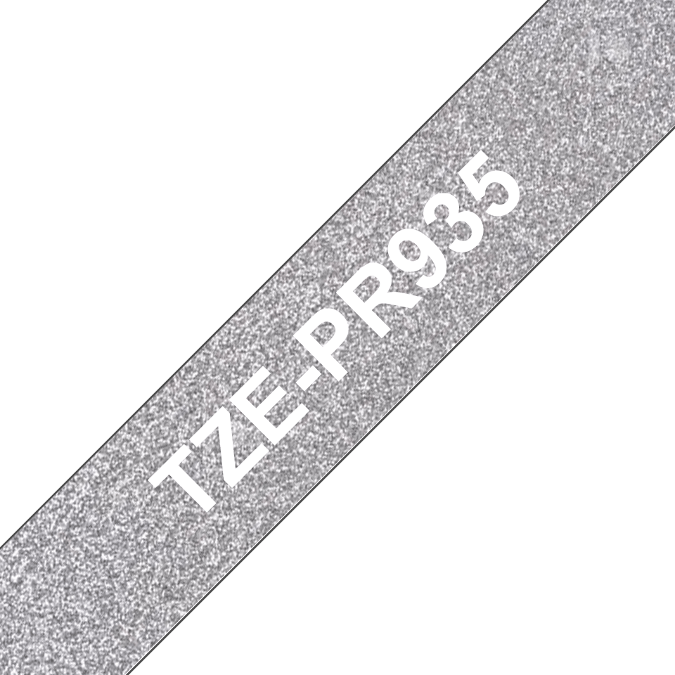 Brother original TZe-PR935 etikettape– Vit på glittrande silver, 12 mm bred