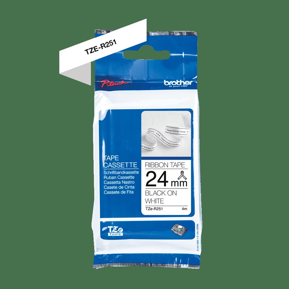 Äkta Brother TZe-R251 satinbandskassett – svart på vitt, 24 mm brett band 5