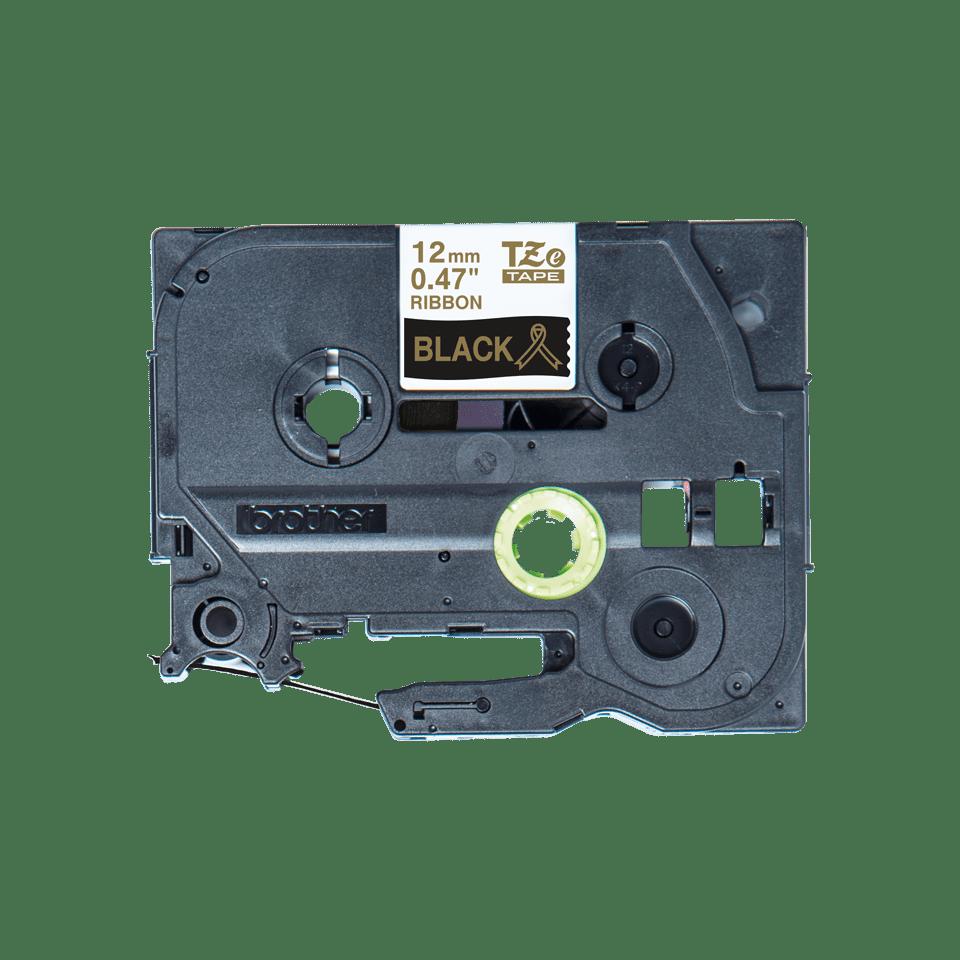 Äkta Brother TZe-R334 satinbandskassett – guld på svart, 12 mm brett band