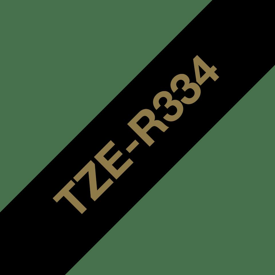 Äkta Brother TZe-R334 satinbandskassett – guld på svart, 12 mm brett band 3