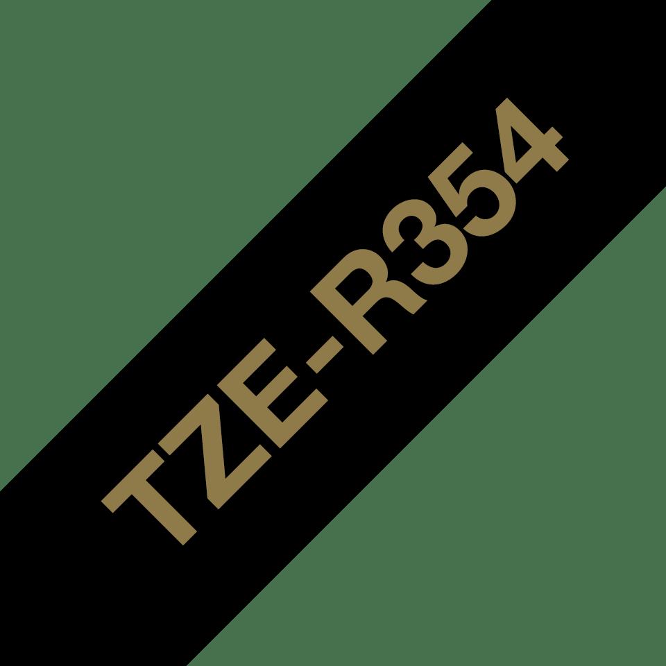 Äkta Brother TZe-R354 satinbandskassett – guld på svart, 24 mm brett band