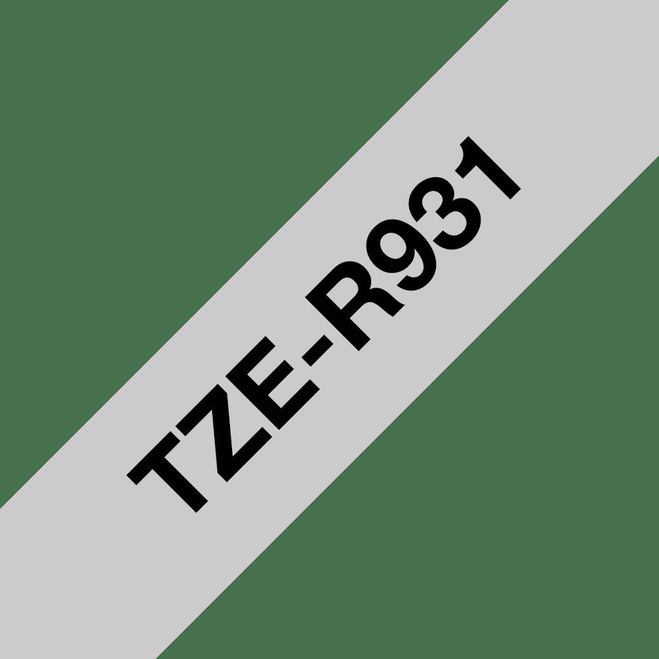 Äkta Brother TZe-R931 satinbandskassett – svart på silver, 12 mm brett band