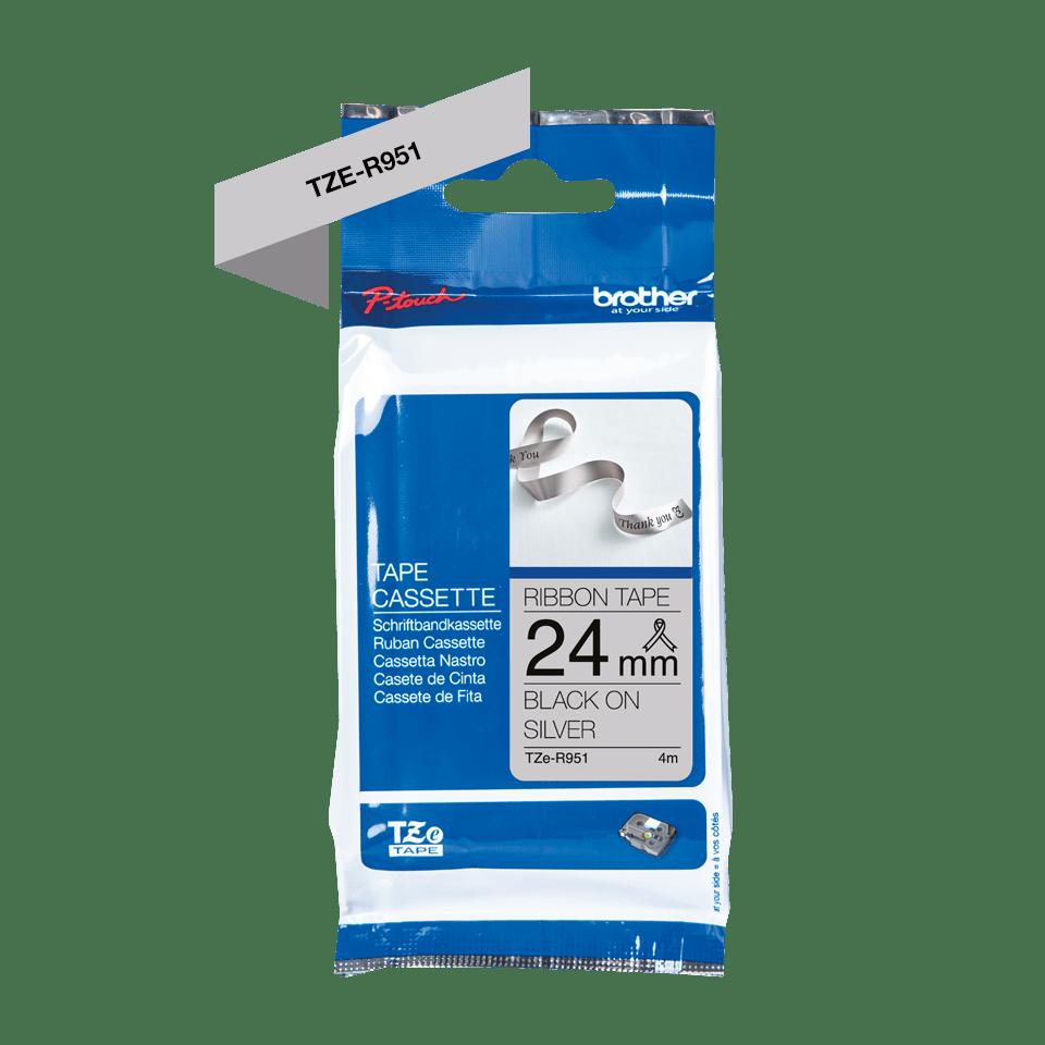 Äkta Brother TZe-R951 satinbandskassett – svart på silver, 24 mm brett band 6