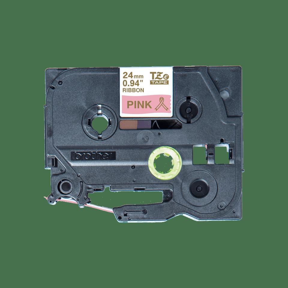 Äkta Brother TZe-RE54 satinbandskassett – guld på rosa, 24 mm brett band