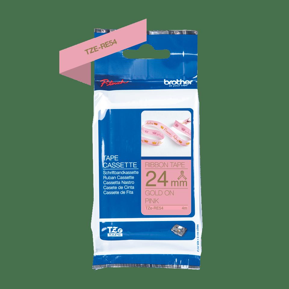 Äkta Brother TZe-RE54 satinbandskassett – guld på rosa, 24 mm brett band 2