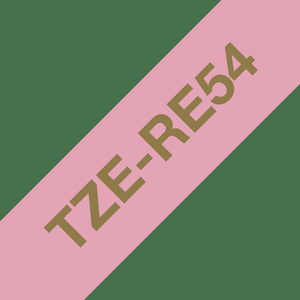 Äkta Brother TZe-RE54 satinbandskassett – guld på rosa, 24 mm brett band 3