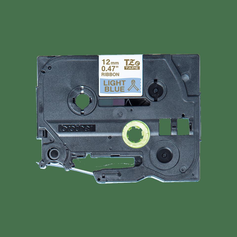 Äkta Brother TZe-RL34 satinbandskassett – guld på ljusblått, 12 mm brett band