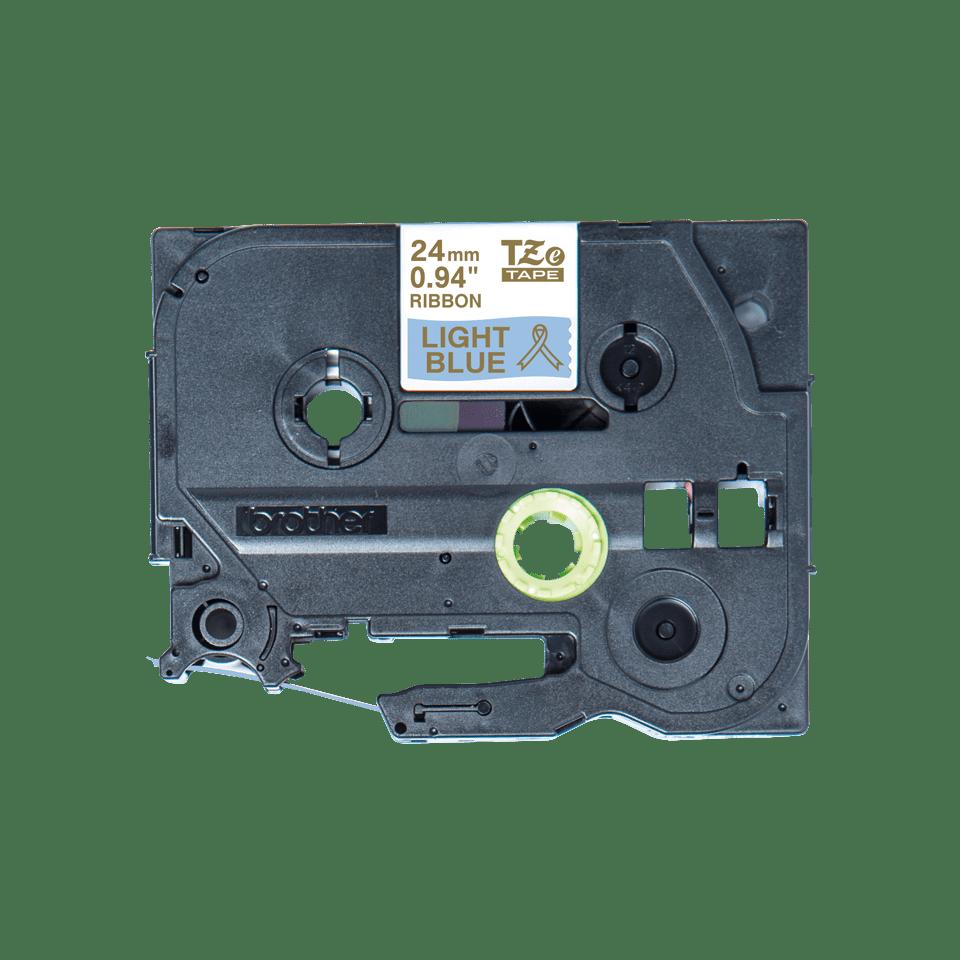 Äkta Brother TZe-RL54 satinbandskassett – guld på ljusblått, 24 mm brett band