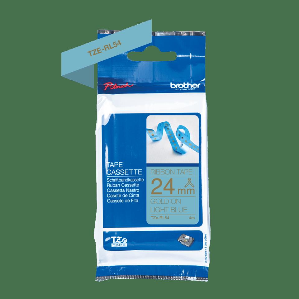 Äkta Brother TZe-RL54 satinbandskassett – guld på ljusblått, 24 mm brett band 2
