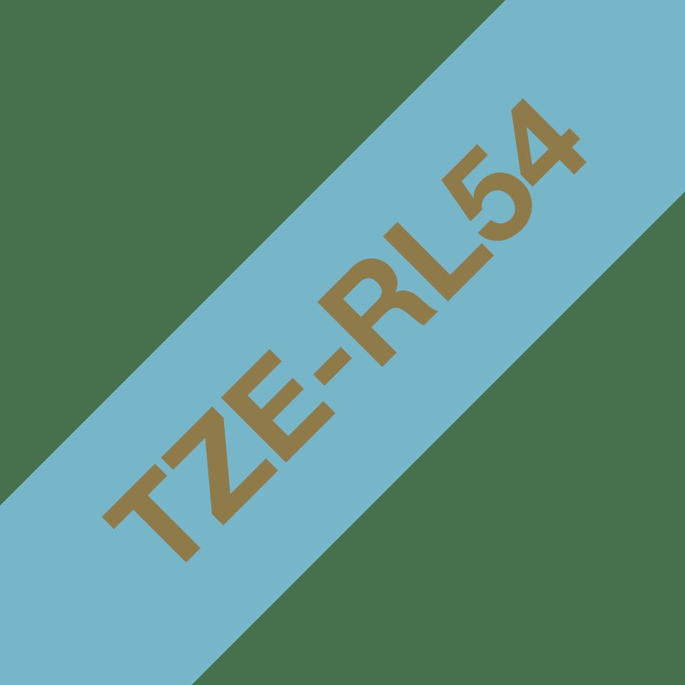 Äkta Brother TZe-RL54 satinbandskassett – guld på ljusblått, 24 mm brett band 3