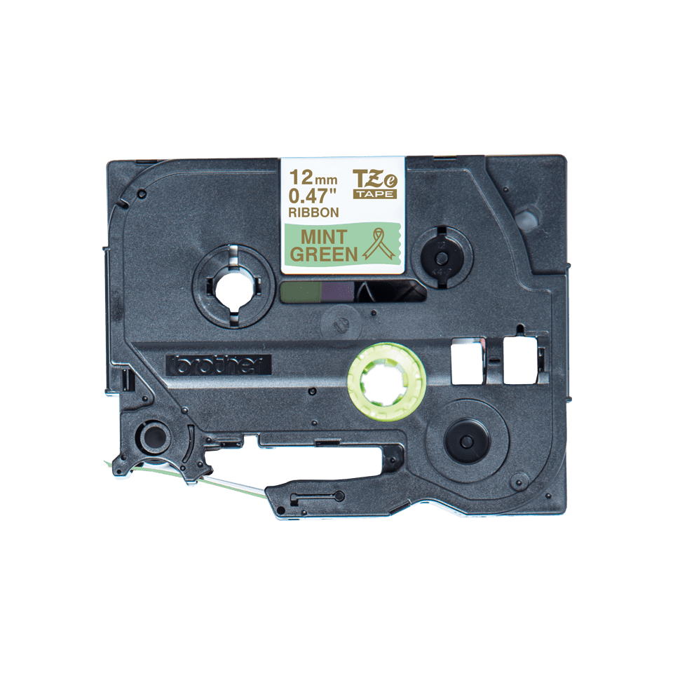 Äkta Brother TZe-RM34 satinbandskassett – guld på mintgrönt, 12 mm brett band