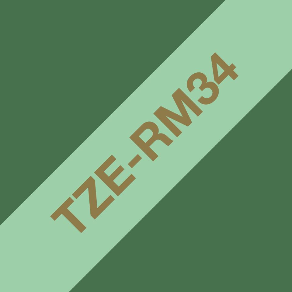 Äkta Brother TZe-RM34 satinbandskassett – guld på mintgrönt, 12 mm brett band 3