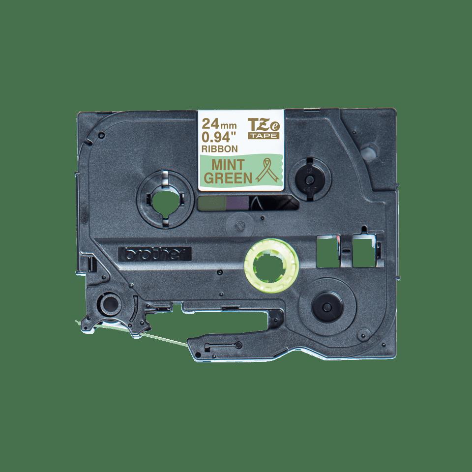 Äkta Brother TZe-RM54 satinbandskassett – guld på mintgrönt, 24 mm brett band 4