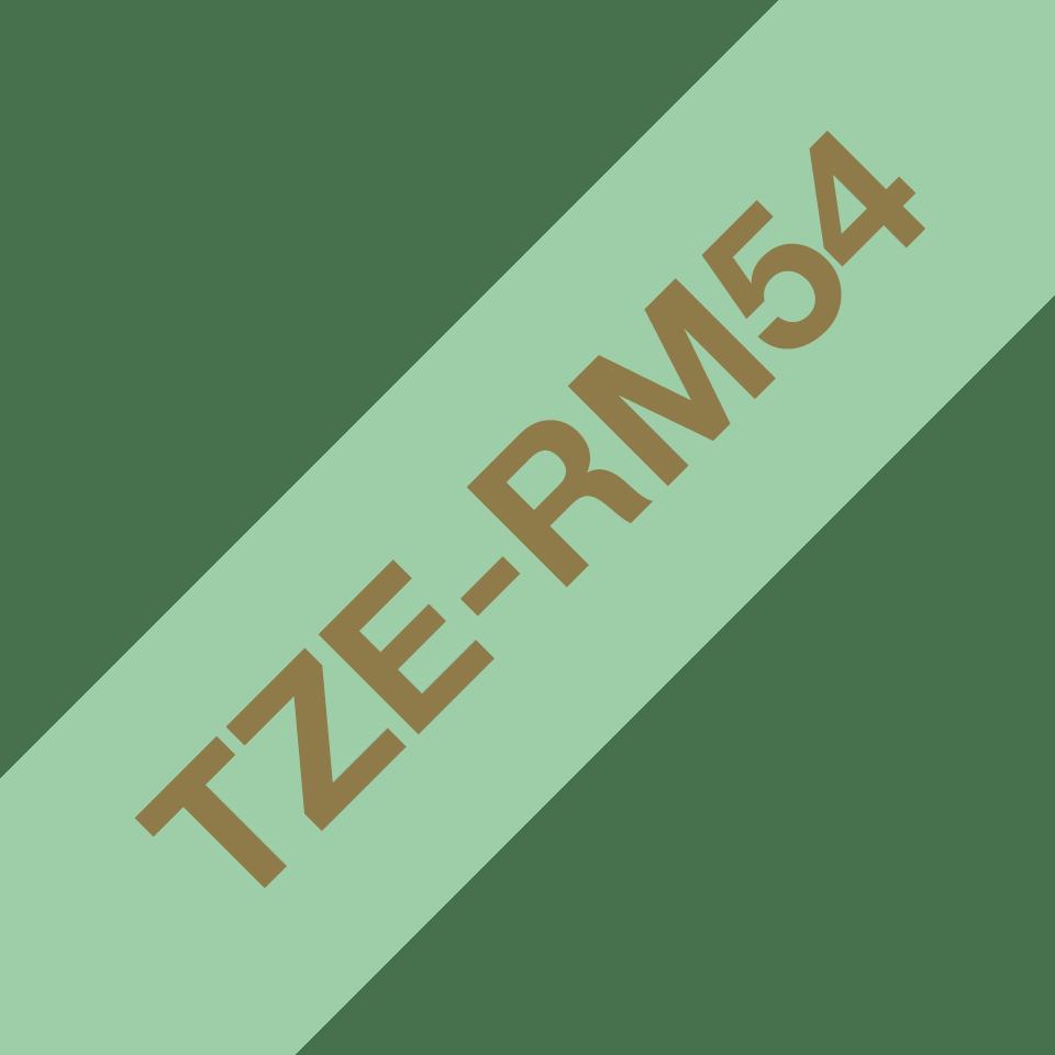 Äkta Brother TZe-RM54 satinbandskassett – guld på mintgrönt, 24 mm brett band 6