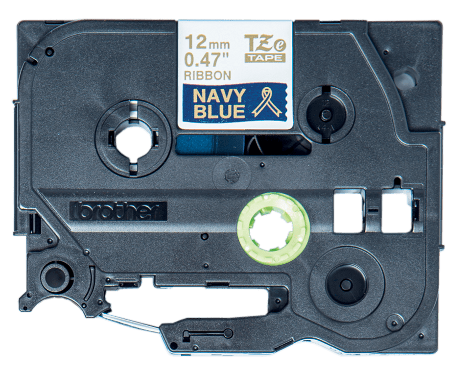 Brother TZe-RN34 original  satinband – guldtext på blå botten, 12 mm bred 2