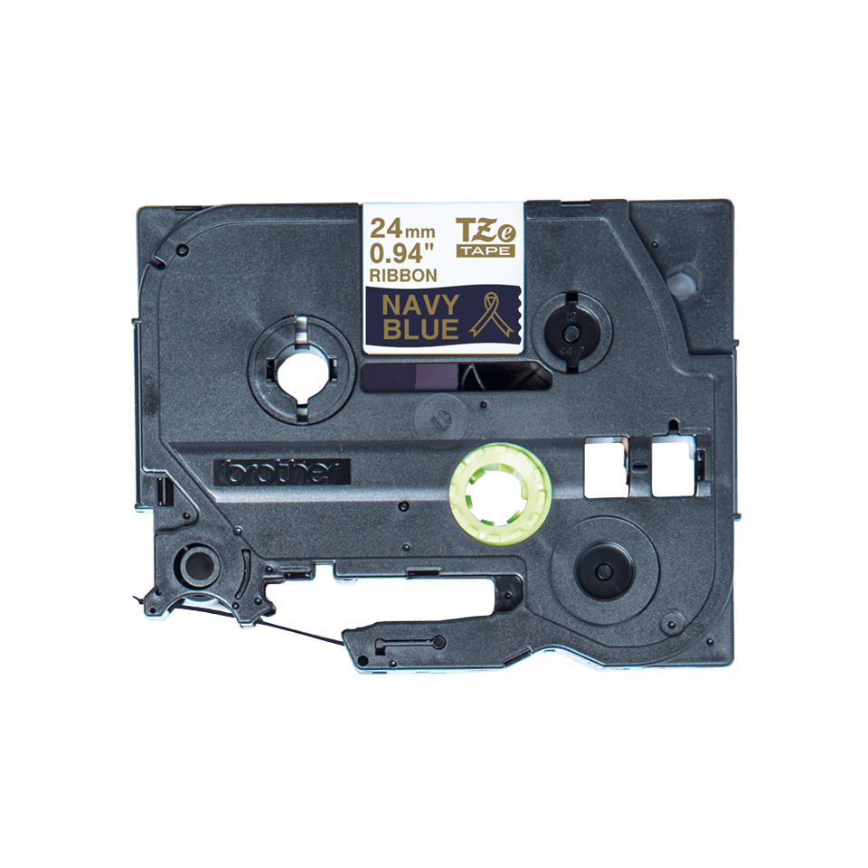 Äkta Brother TZe-RN54 satinband – guld på marinblått, 24 mm brett band
