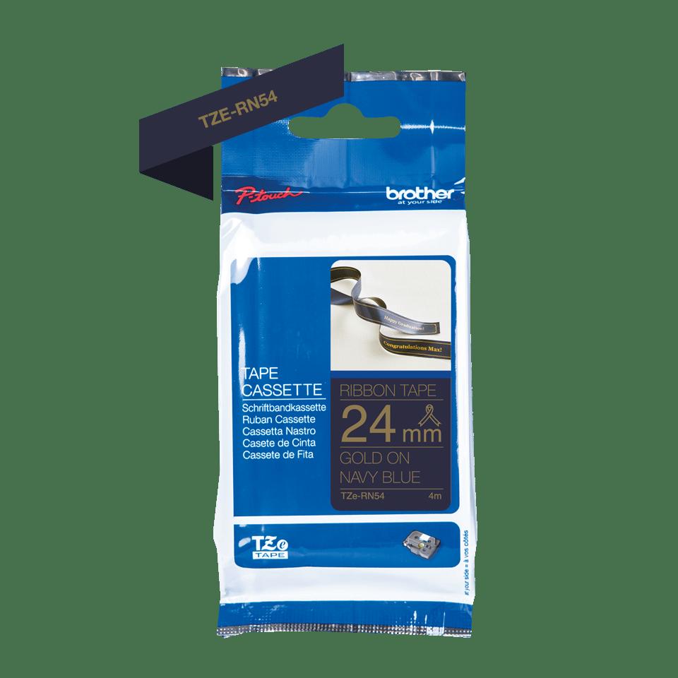 Äkta Brother TZe-RN54 satinband – guld på marinblått, 24 mm brett band 2
