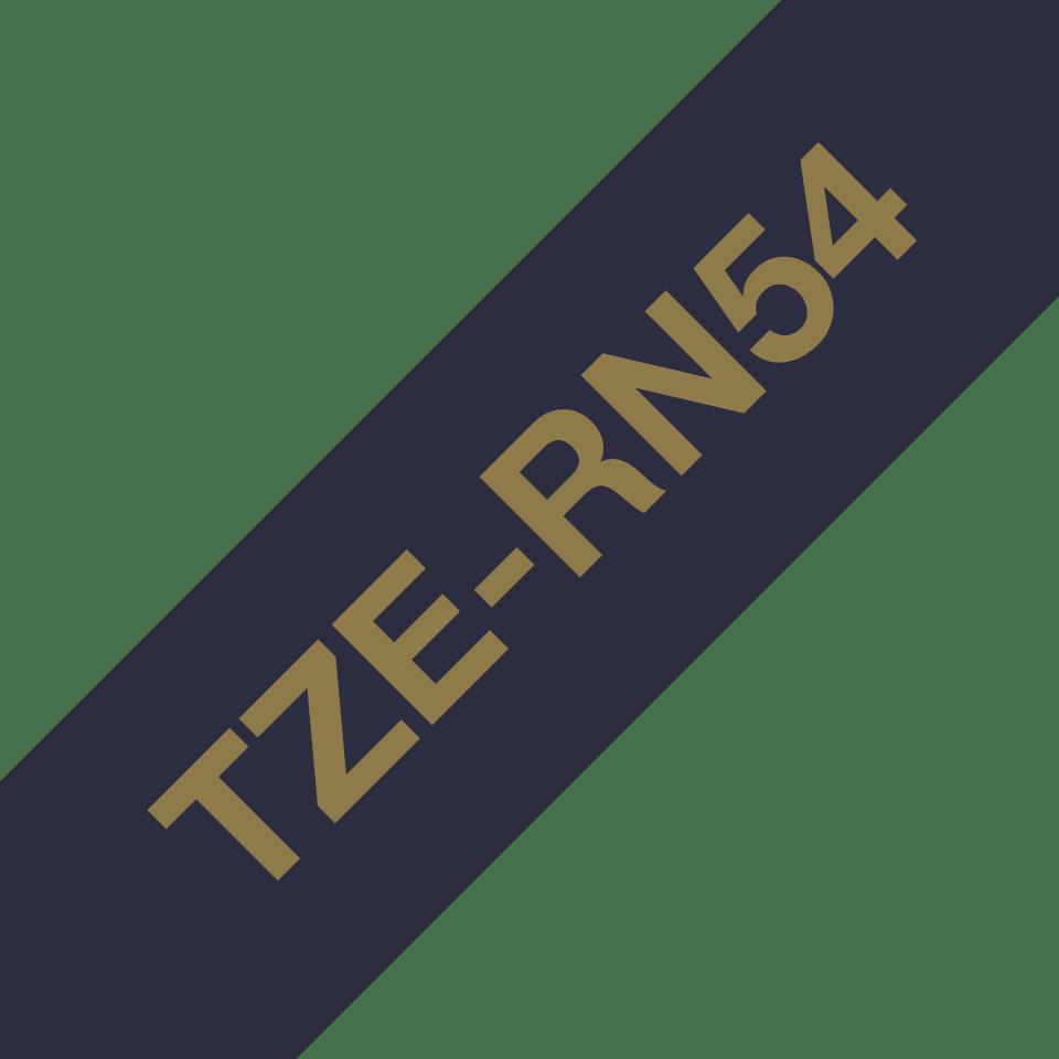 Äkta Brother TZe-RN54 satinband – guld på marinblått, 24 mm brett band 3