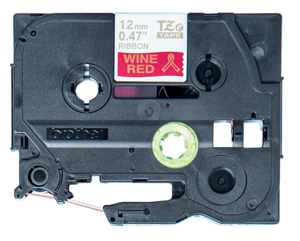 Brother TZeRW34 original satinband, guld på vinröd, 12 mm 6