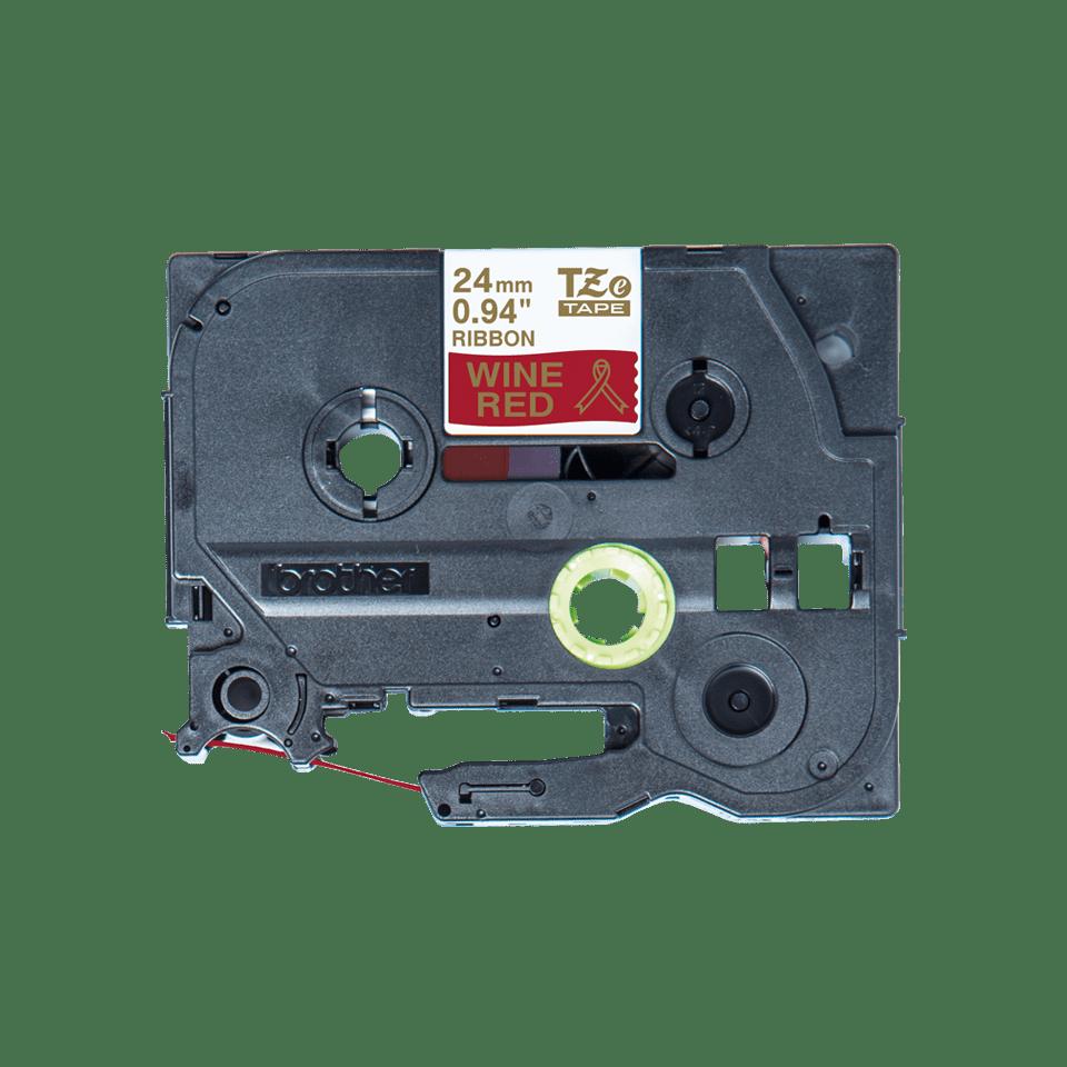 Äkta Brother TZe-RW54 satinbandskassett – guld på vinrött, 24 mm brett band