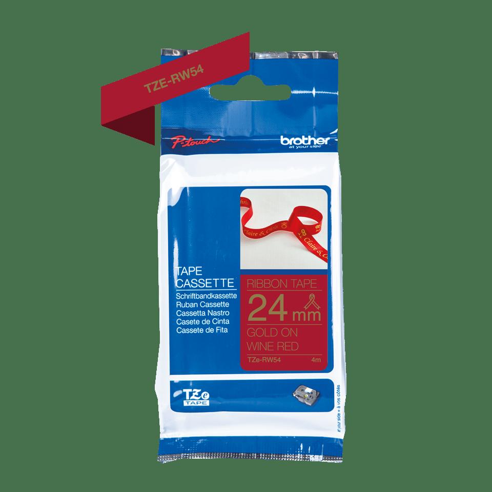 Äkta Brother TZe-RW54 satinbandskassett – guld på vinrött, 24 mm brett band 2