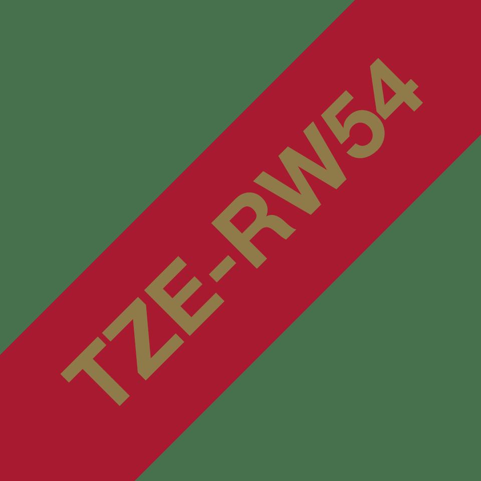 Äkta Brother TZe-RW54 satinbandskassett – guld på vinrött, 24 mm brett band 3