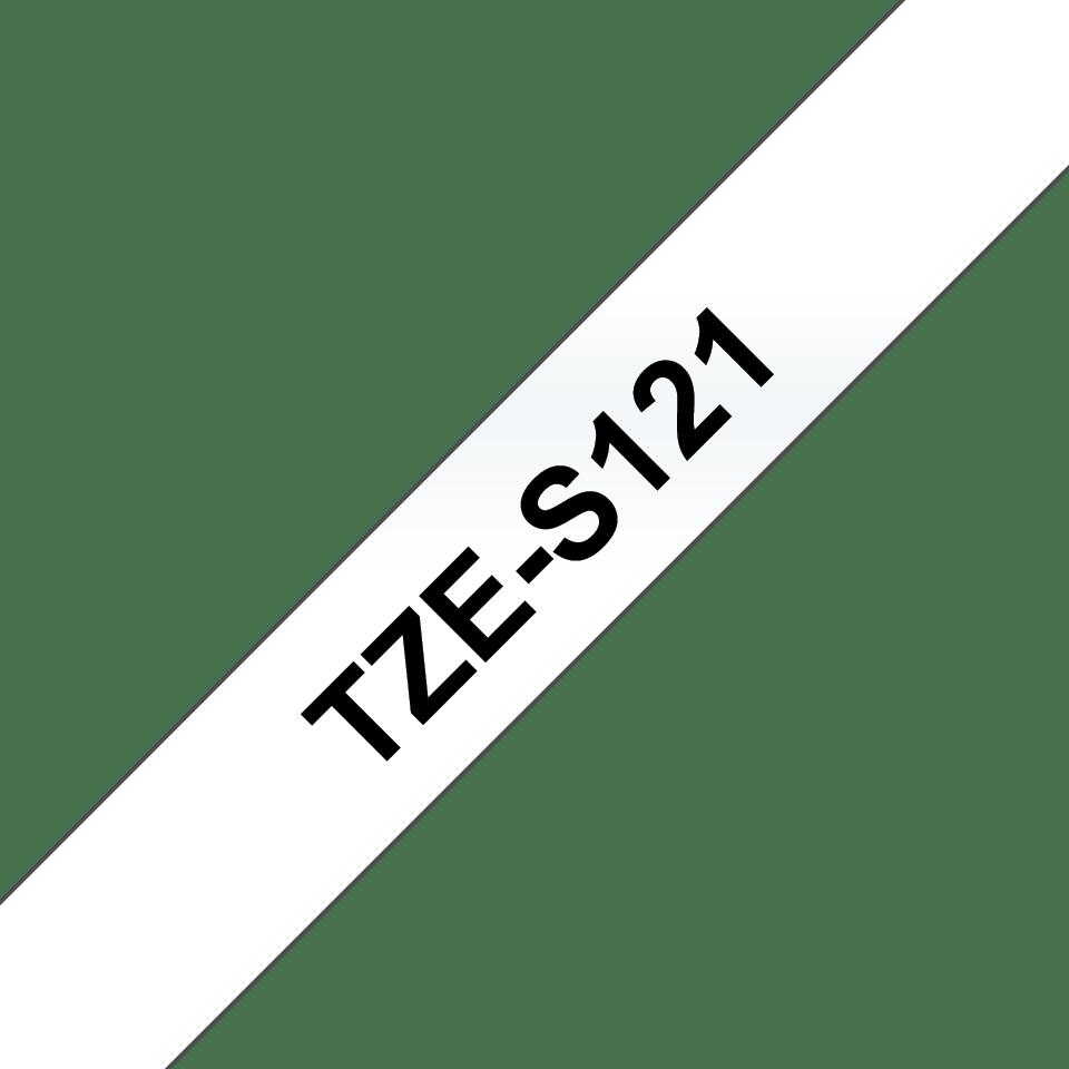 Brother TZeS121 original etikettape, svart på genomskinlig 9 mm  3