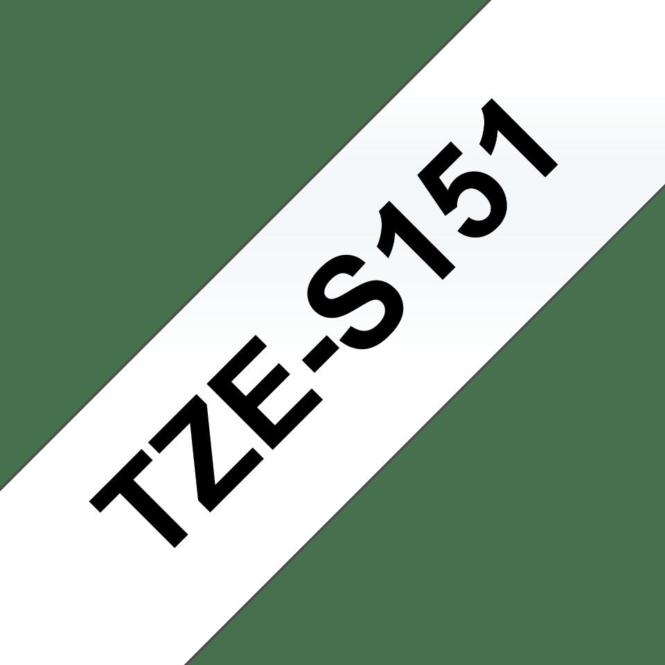 Brother TZES151 original etikettape, svart på genomskinlig, 24 mm 3