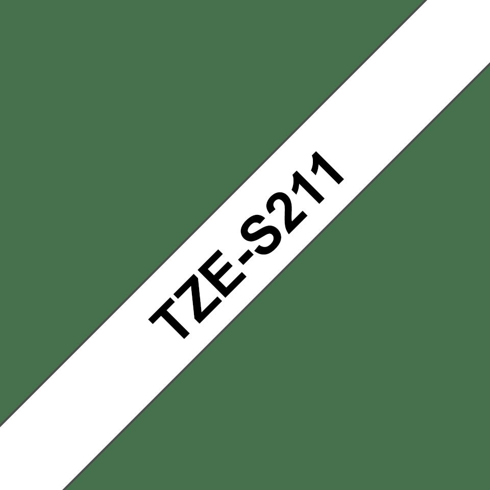 Brother TZeS211 original  etikettape, svart på vit, 6 mm  3
