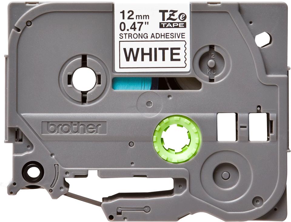 Brother original TZeS231 tapekassett – svart på vit, extra stark vidhäftning, 12 mm