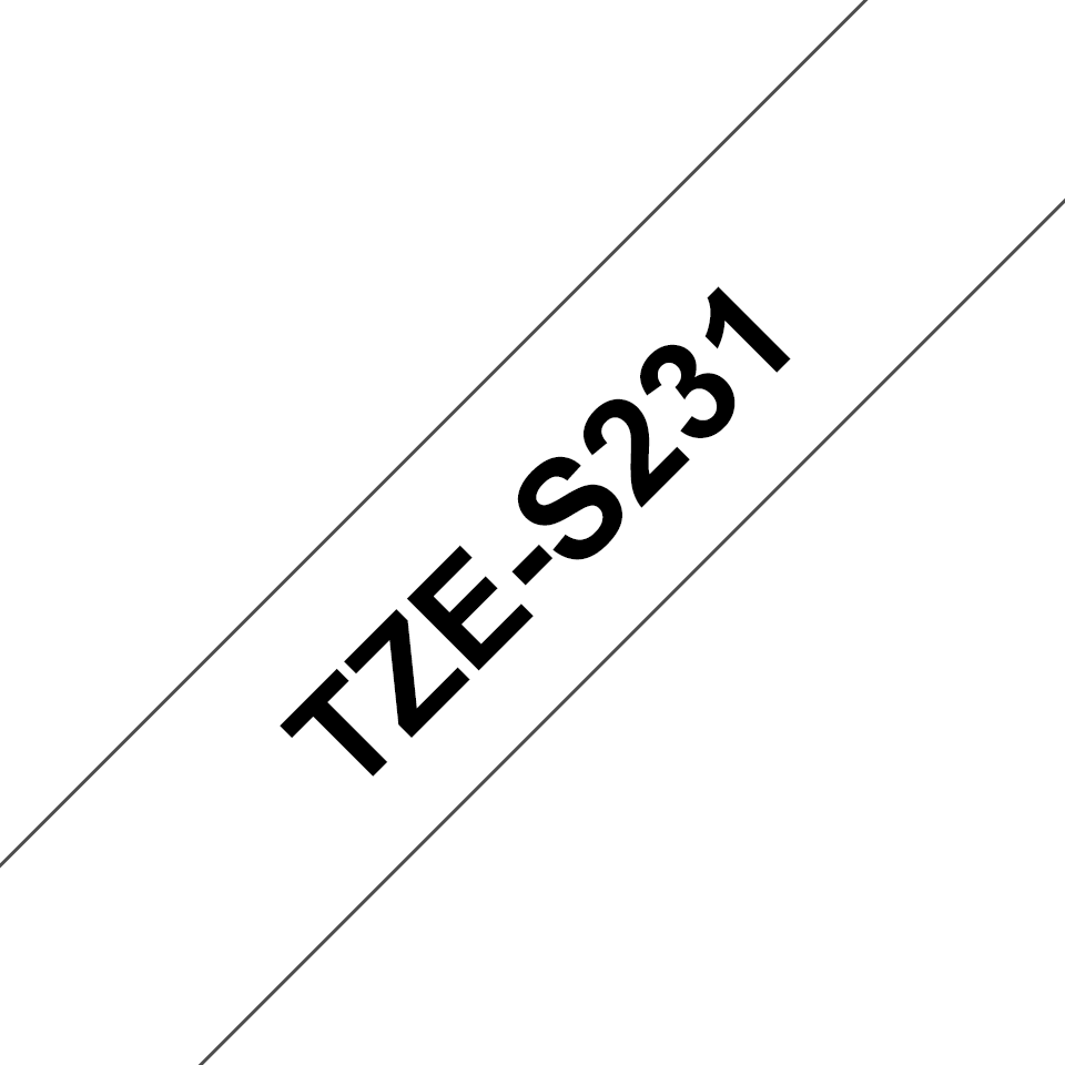 Brother original TZeS231 tapekassett – svart på vit, extra stark vidhäftning, 12 mm 3