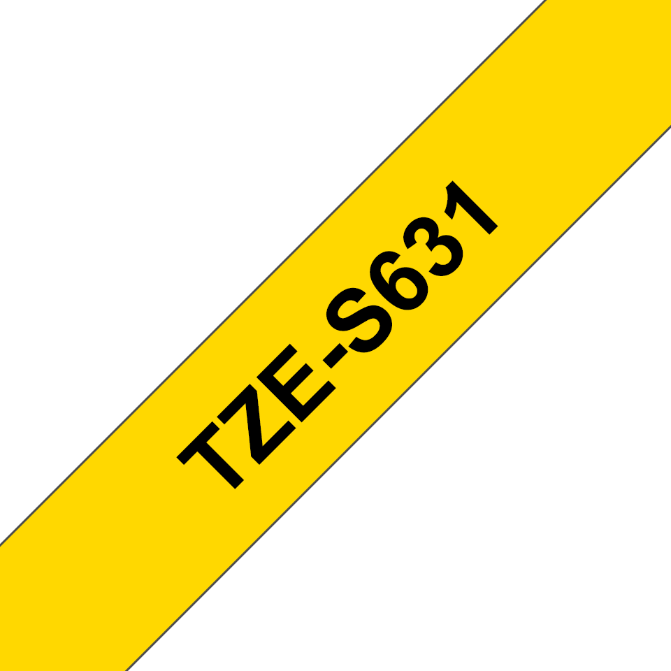 Brother TZeS631 original etikettape, svart på gul, 12 mm  3