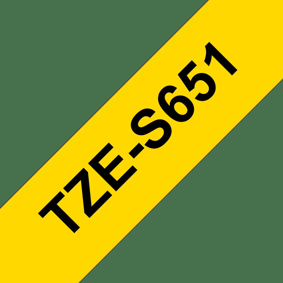 Brother TZES651 original etikettape, svart på gul, 24 mm  3